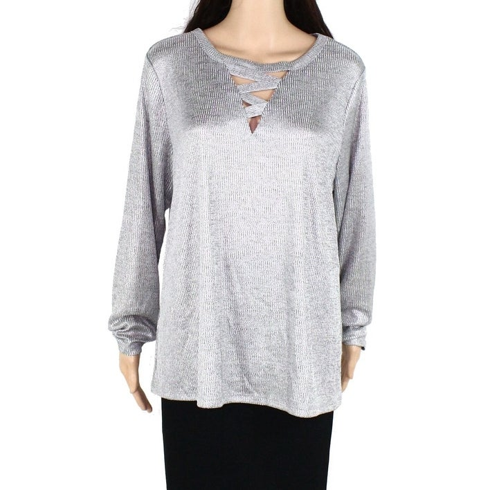 INC Womens Blouse Silver Size 2X Plus Strappy V-Neck Ribbed Knit Shiny