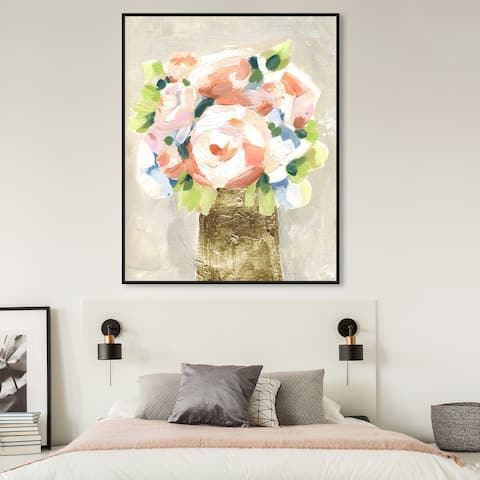 Oliver Gal 'Coral Peonies' Floral and Botanical Wall Art Framed Canvas Print Florals - Orange, Gold