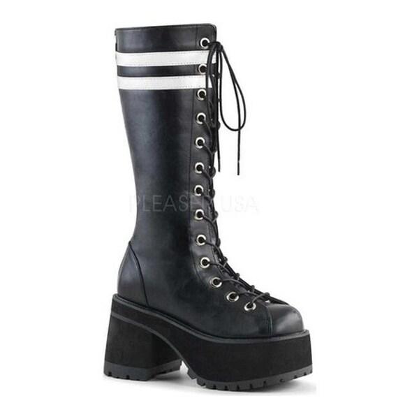 7d26d61baf8 Demonia Men's Ranger 320 Knee-High Platform Lace-Up Boot Black/White Vegan  Leather