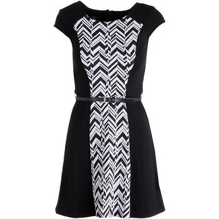 BCX Womens Juniors Chevron Panel Wear to Work Dress
