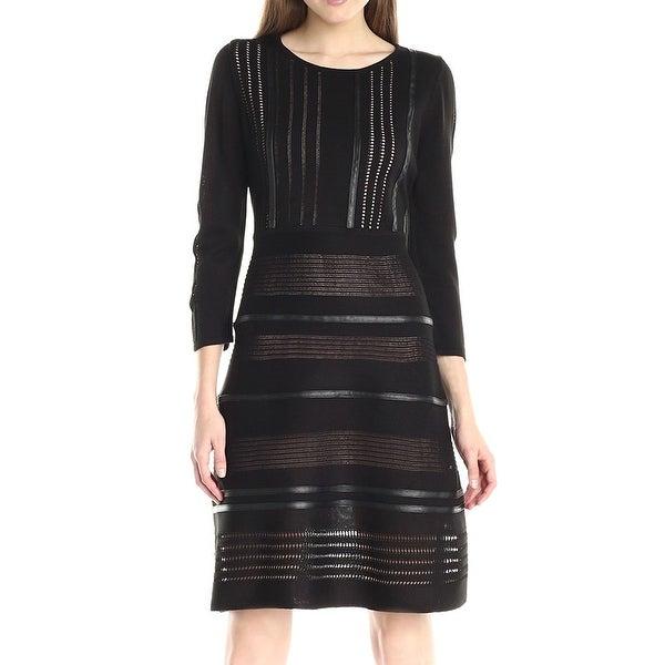 3b7d79f5b1c Shop Calvin Klein NEW Black Women Size S Faux Leather Trim Sheath ...