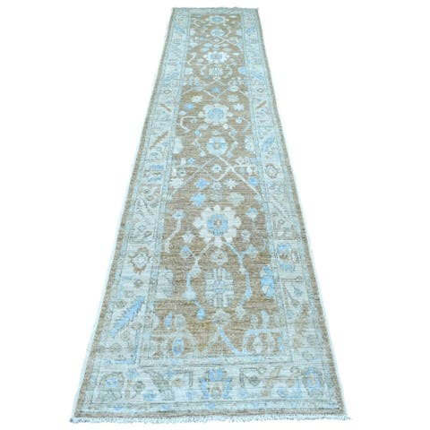 """Shahbanu Rugs Brown Oushak with Soft Colors Glimmery and Brilliant Wool Hand Knotted Oriental XL Runner Rug (2'8"""" x 13'6"""")"""