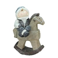 """18"""" Sparkly Little Boy on Rocking Horse Decorative Christmas Tabletop Figure"""