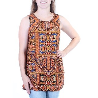 LUCKY BRAND $90 Womens New 1334 Orange Floral Sleeveless Keyhole Top M B+B