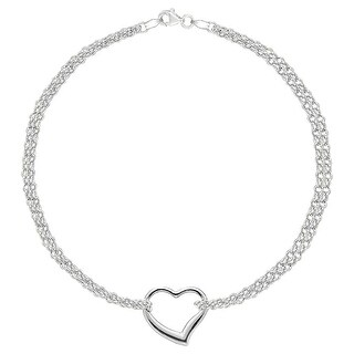 MCS Jewelry Inc 14 KARAT WHITE GOLD DOUBLE STRAND ANKLET BRACELET WITH CENTER HEART (10 INCHES)