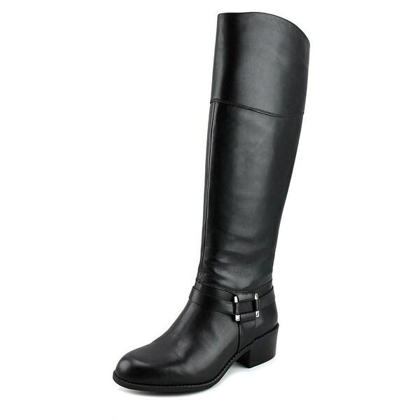 Alfani Biliee Women Round Toe Leather Black Knee High Boot