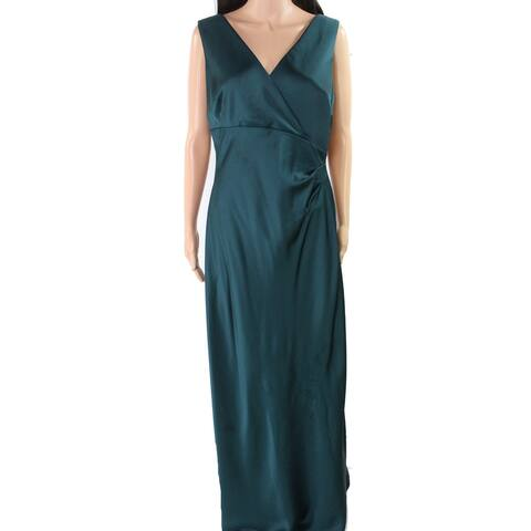 Lauren by Ralph Lauren Women's Dress Green Size 16 Satin V-Neck Gown