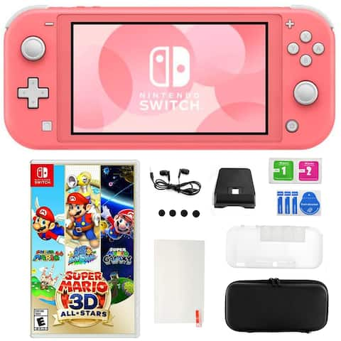 Switch Lite in Coral w/ Super Mario 3D All Star Game and Kit