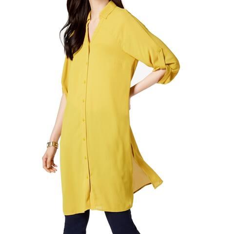 Alfani Women's Blouse Gold Yellow Size XXL Plus Button Down Tunic