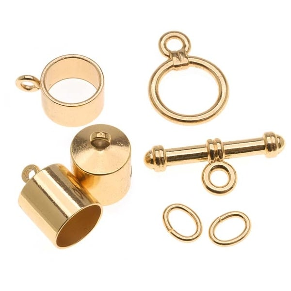 BeadSmith Gold Plated Barrel Findings Kit For Kumihimo Braids - Fits 8mm Cord