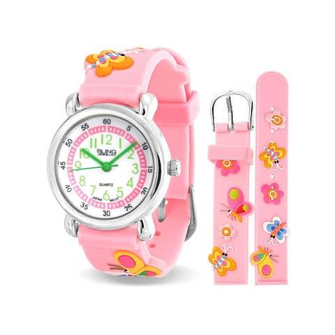 Flowers Butterfly Waterproof Wrist Watch Quartz 3D Pink Silicone Dial