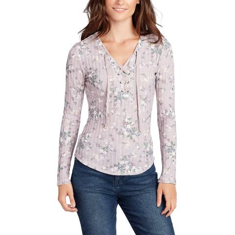William Rast Womens Phoebe Printed Lace-Up Top X-Large Mauve Shadow