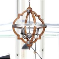 Rustic 4-Light Distressed Wood Chandelier