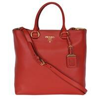 """Prada 1BG865 Red Leather Vitello Phenix Convertible Tote Handbag Shopper - 13.77"""" x 12.20"""" x 5.90"""""""