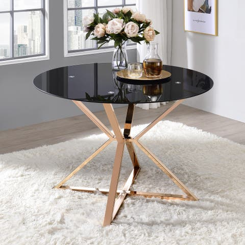 Furniture of America Elfenda Contemporary Gold Glass Top Dining Table