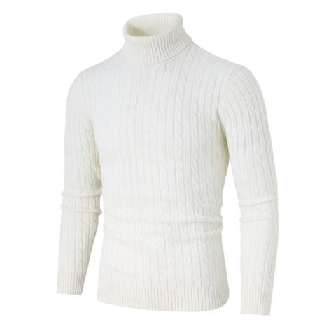 Men Turtleneck Long Sleeves Pullover Cable Knitted Sweater