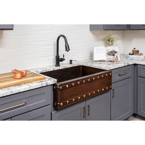Premier Copper Products KSP2_KASDB33229BS Kitchen Sink, Pull Down Faucet and Accessories Package