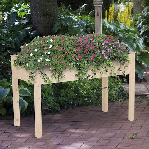 """Outsunny Garden Wood Raised Elevated Bed 48"""" x 22"""" x 30"""" Vegetable Planter Outdoor with Plenty of Growing Space"""