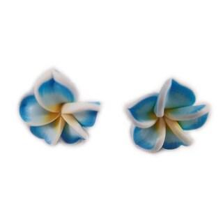 Charming Shark Womens Flower Post Earrings Blue