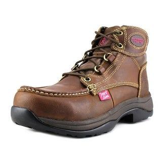 "Tony Lama 5"" RR3051L Saddle Boot Women Steel Toe Leather Brown Work Boot"