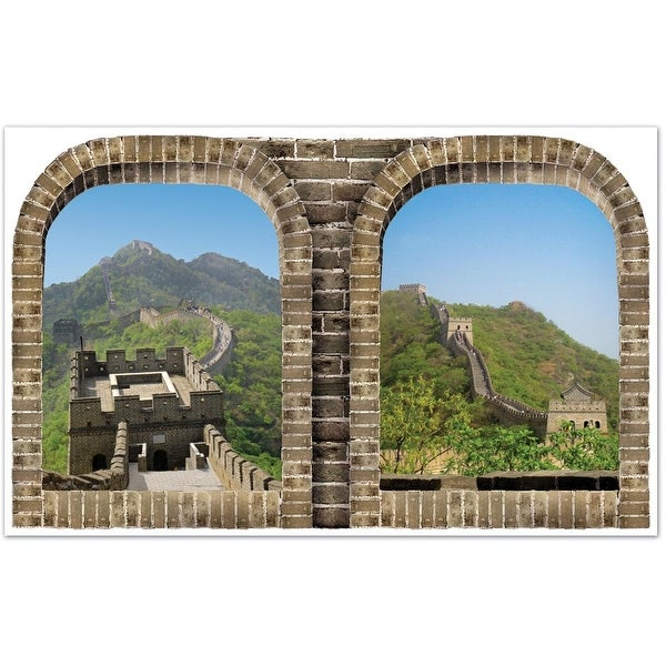 """Pack of 6 Asian Insta-View Great Wall of China Wall Decoration 62"""""""