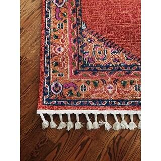 "Boho Persian Tassel Orange Area Rug (5' x 7'3) - 5' x 7'3"""