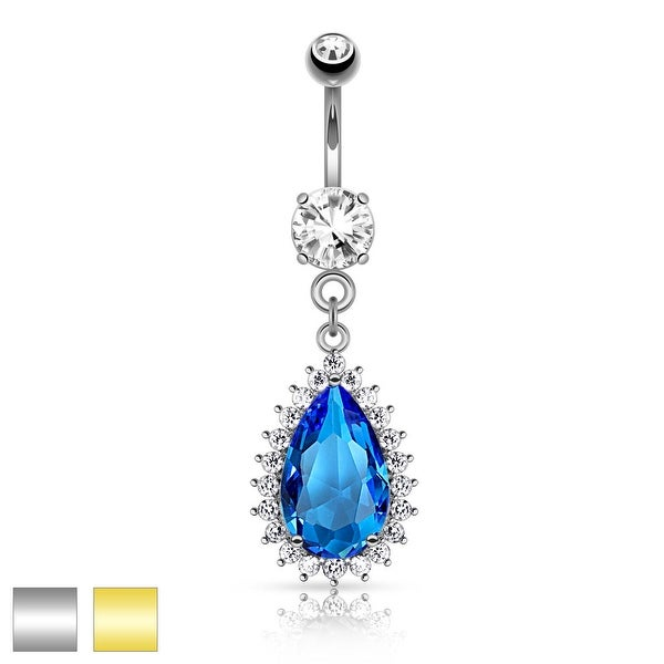 Large Blue Tear Drop CZ and Clear CZ Trim Dangle Navel Ring