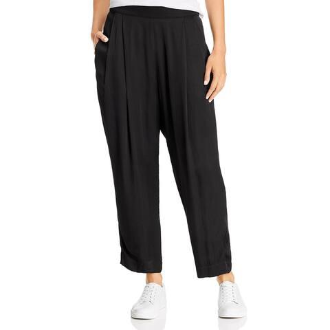VELVET BY GRAHAM & SPENCER Womens Hillary Cropped Pants Satin Pleated - Black
