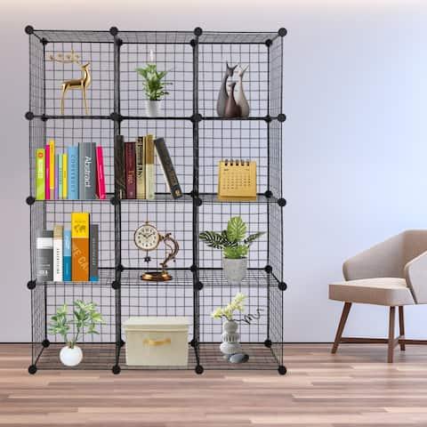 12-Cube Organizer Cube Storage Storage Shelves Metal Grid Unit Modular Cubbies Organizer Bookcase