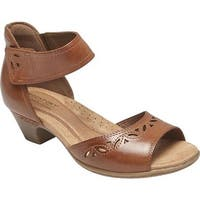 Rockport Women's Cobb Hill Abbott 2 Piece Ankle Strap Sandal Tan Leather