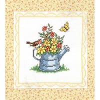 "Spring Watering Can  - Stamped Cross Stitch Quilt Blocks 15""X15"" 6/Pkg"