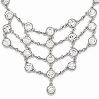 Silvertone White Crystal Drape Necklace - 16in