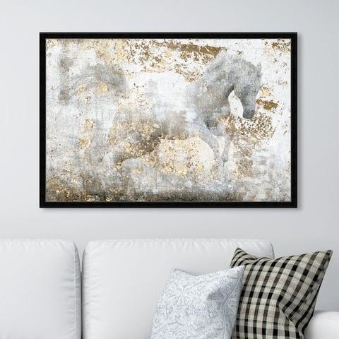 Oliver Gal 'Running Equus' Animals Wall Art Framed Print Farm Animals - White, Gold
