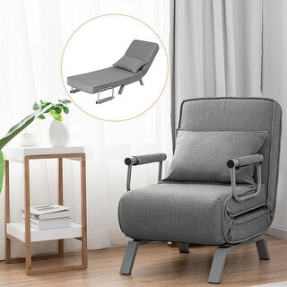 Costway Folding Sofa Bed Sleeper Convertible Armchair Lounge Couch 5 Position w/ Pillow - Grey