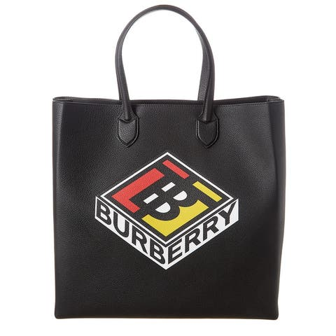 Burberry Large Logo Graphic Grainy Leather Tote - NoSize