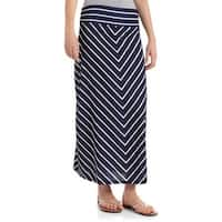 JADA Collections Women's Fashion Maxi Skirt with Shirred Waistband, Blue Sapphire Stripe