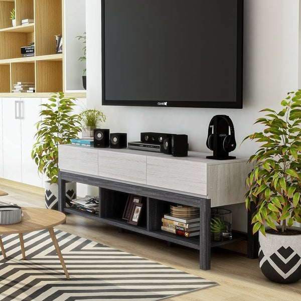 Furniture of America Tiska Modern White and Grey 60-inch 3-shelf TV Console. Opens flyout.