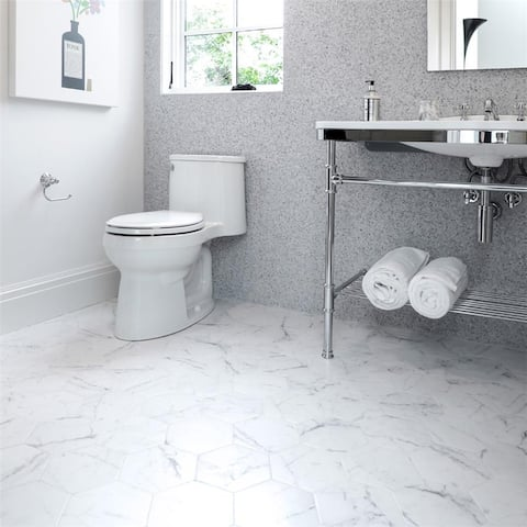 SomerTile 7x8-inch Carra Carrara Hexagon Porcelain Floor and Wall Tile (25 tiles/7.67 sqft.)