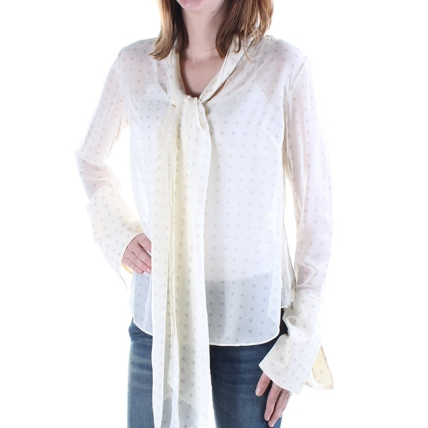 bb6e7088c47469 Shop RACHEL ROY Womens Ivory Sheer Floral Bell Sleeve Tie Neck Tunic Top  Size  M - On Sale - Free Shipping On Orders Over  45 - Overstock - 21331217