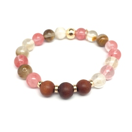 Cherry Quartz 'Wonder' stretch bracelet 14k Over Sterling Silver