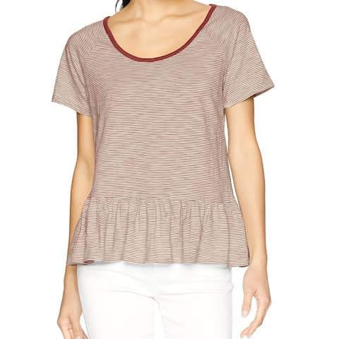 Lucky Brand Brown White Womens Size Large L Striped Knit Top