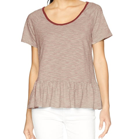 Lucky Brand Brown Womens Size Medium M Scoop Neck Stripe Peplum Top