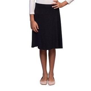 Karen Michelle Girls Black-Line Knee Length Cotton Skirt