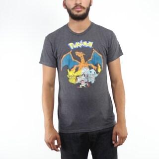 Pokemon First Gen Charizard & Friends Faded Men's Grey T-shirt