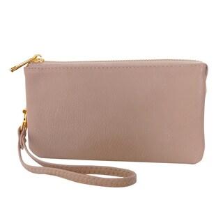 "Humble Chic Small Wristlet - Vegan Leather Wallet Clutch Bag Phone Purse Handbag - 4"" x 7"" x 1"" (Option: Tan)"