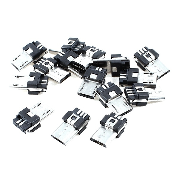 Unique Bargains 15 Pieces Micro USB 5-Pin Type B Male Connector Solder Plug Jack Plug