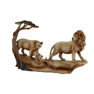 African Lion Family Carved Wood Look Resin Statue - Beige