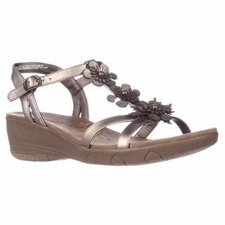 BareTraps Hammond Flower T-Strap Memory Foam Wedge Sandals - Bronze