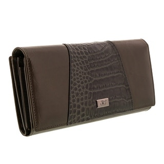 Jacky&Celine J20-002-021 Taupe Croc Embossed Panel Multifunction Wallet