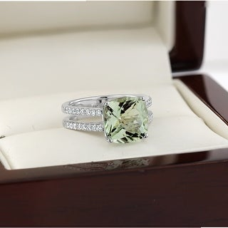 Auriya Modern 3ct Cushion-cut Green Amethyst and Diamond Engagement Ring 1/4cttw 14k Gold